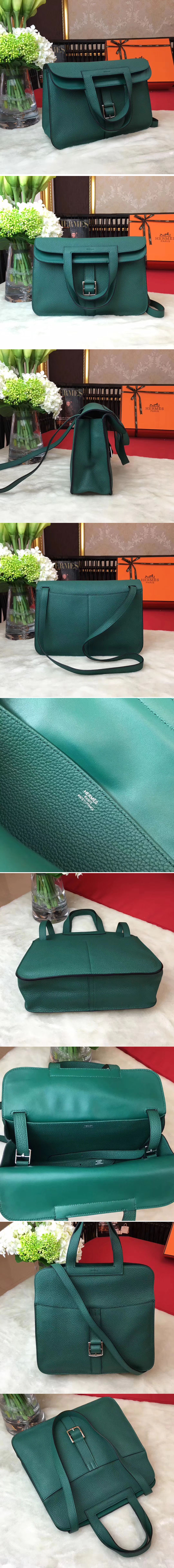 Replica Hermes Halzan 31 Bags Original Taurillon Leather Green