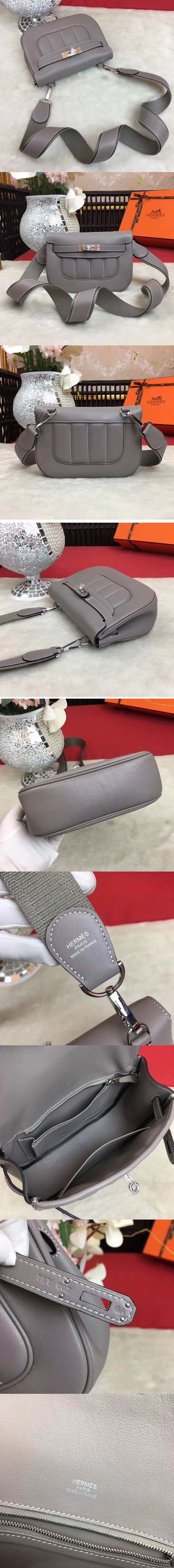 Replica Hermes Berline 20cm Original Swift Leather Bags Grey