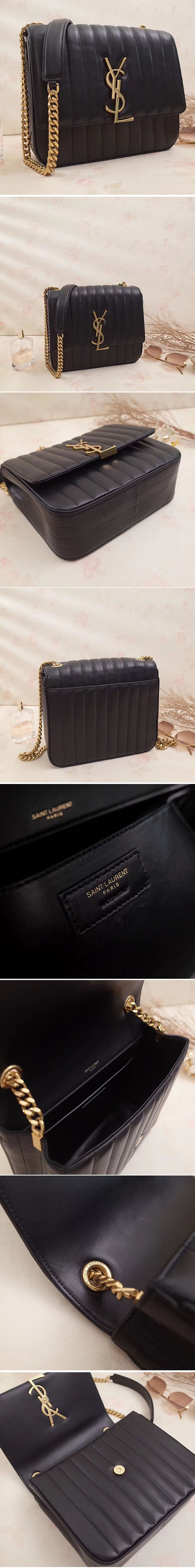 Replica Saint Laurent Large Vicky Bag in Original Leather 532595 Black