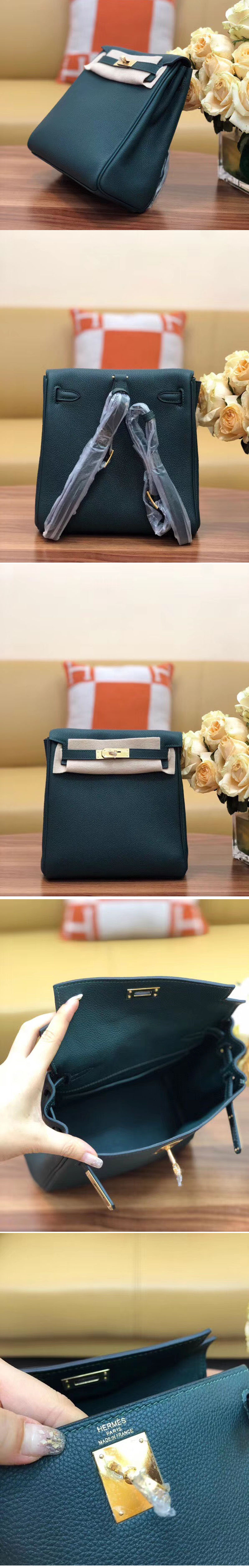 Replica Hermes kelly ado 22cm backpack Original Togo Leather Full Handstitch Green Gold Hardware