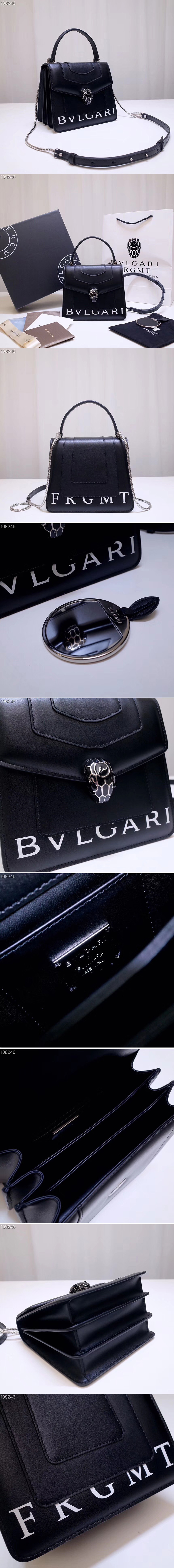 Replica Bvlgari Serpenti Forever 38329 Crossbody Bags Black Calf Leather With Print