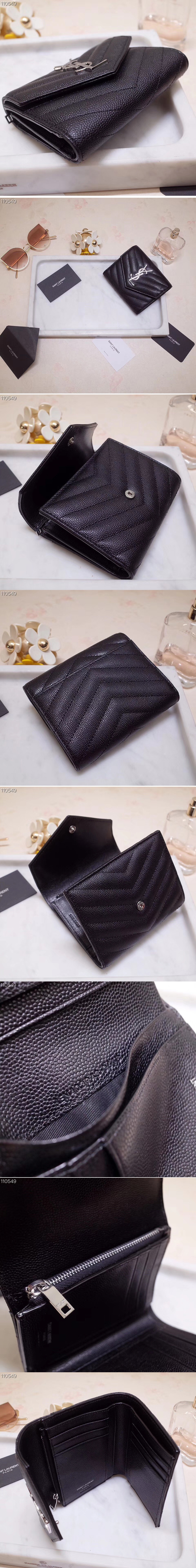 Replica Saint Laurent YSL 403943 Monogram Compact Tri Fold Wallet In Black Grain De Poudre Embossed Leather Silver YSL