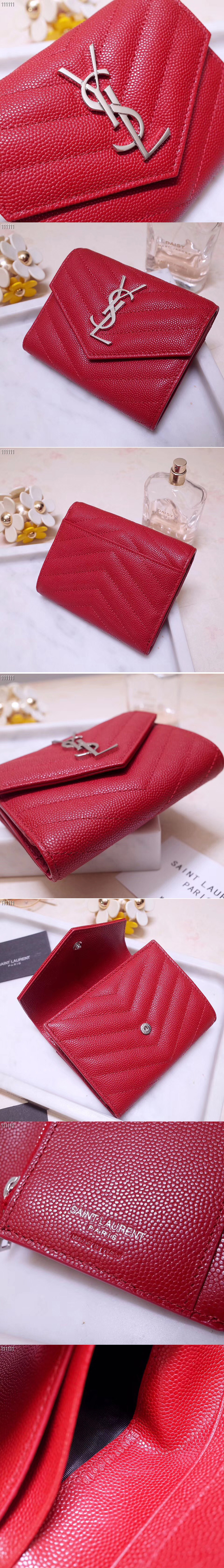 Replica Saint Laurent YSL 403943 Monogram Compact Tri Fold Wallet In Red Grain De Poudre Embossed Leather Silver YSL