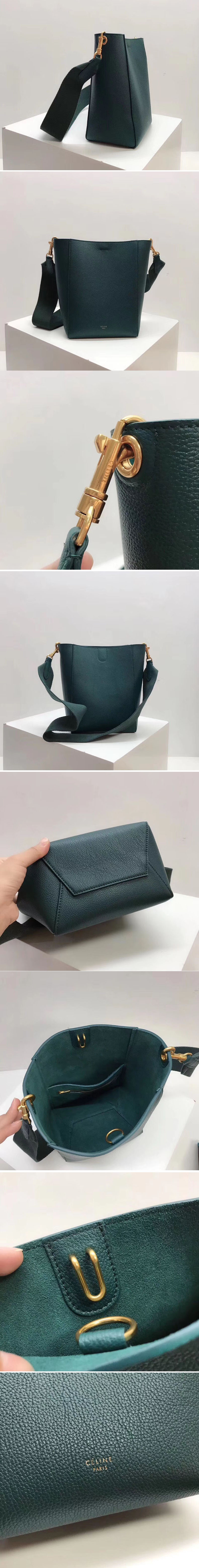 Replica Celine Sangle Small Bucket Bags Soft Grained Calfskin Leather Green