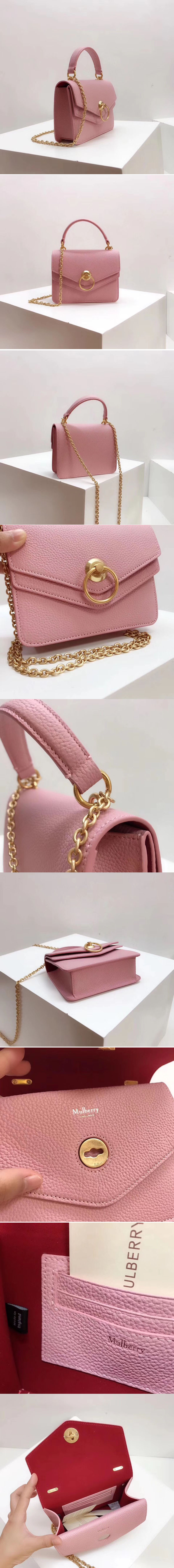 Replica Mulberry Small Harlow Satchel Bags Small Classic Grain Leather Pink