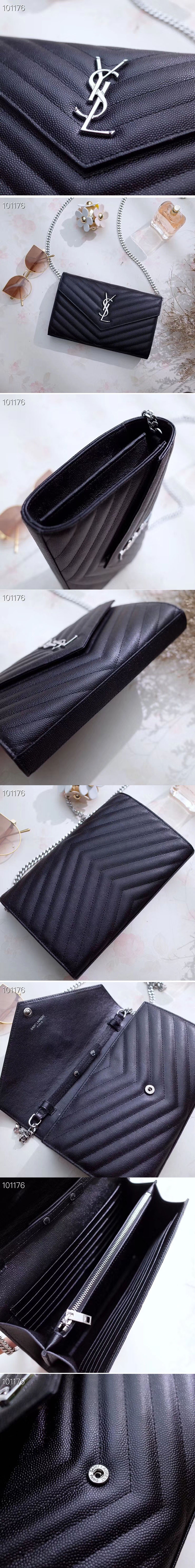 Replica YSL 377828 Saint Laurent Chain Wallet Black Matelasse Leather Silver Hardware