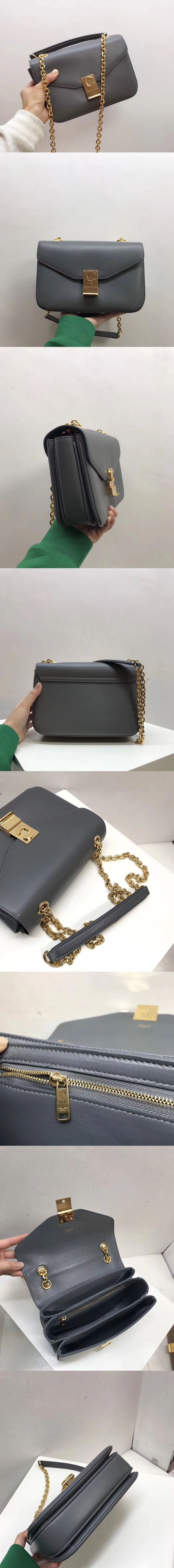 Replica Celine Shiny Calfskin Medium C Bags Grey