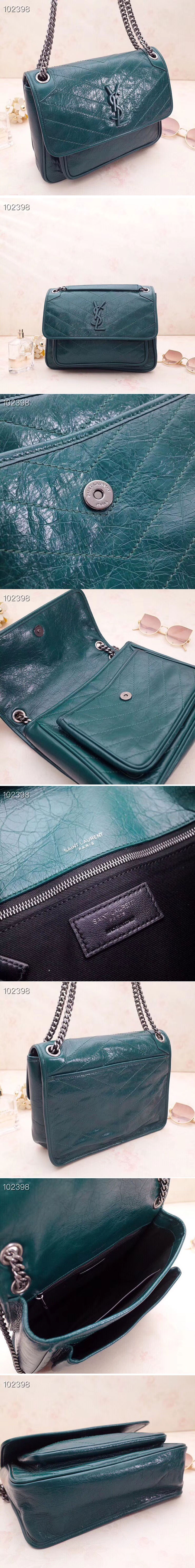 Replica YSL Saint Laurent Niki Medium Bag Vintage Leather 498894 Green
