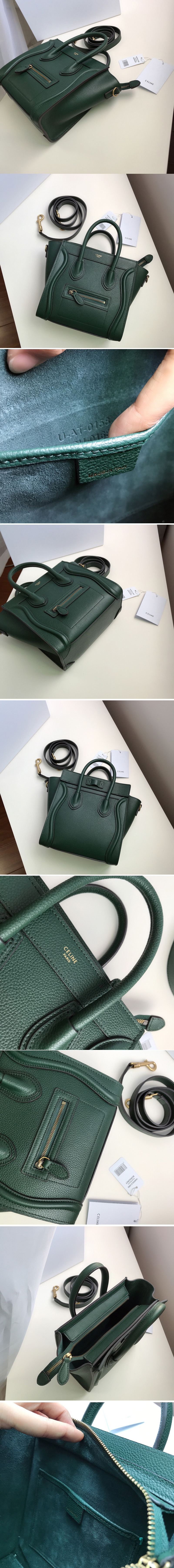 Replica Celine 189243 Nano Luggage Bag in Light Green Drummed Calfskin Leather