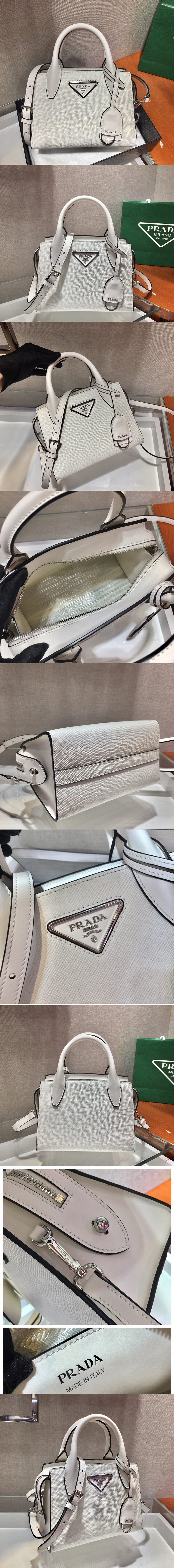 Replica Prada 1BA269 Saffiano leather handbag in White Saffiano leather
