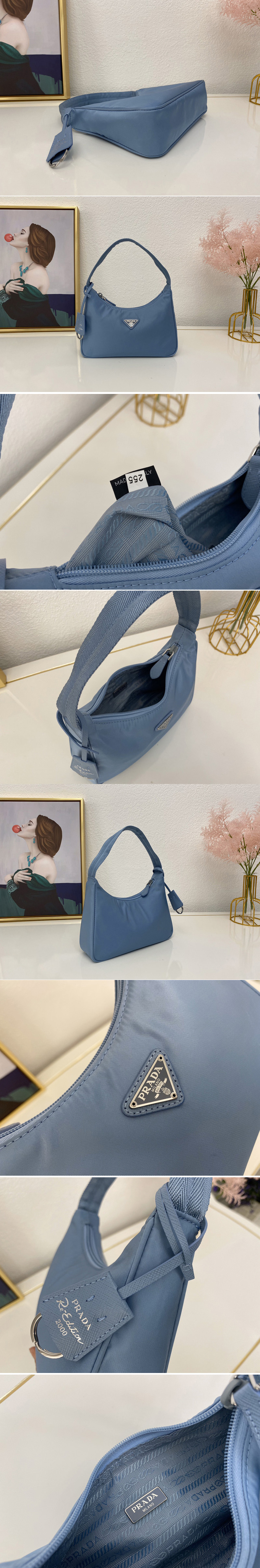 Replica Prada 1NE515 Re-Edition 2000 nylon mini-bag in Blue Nylon