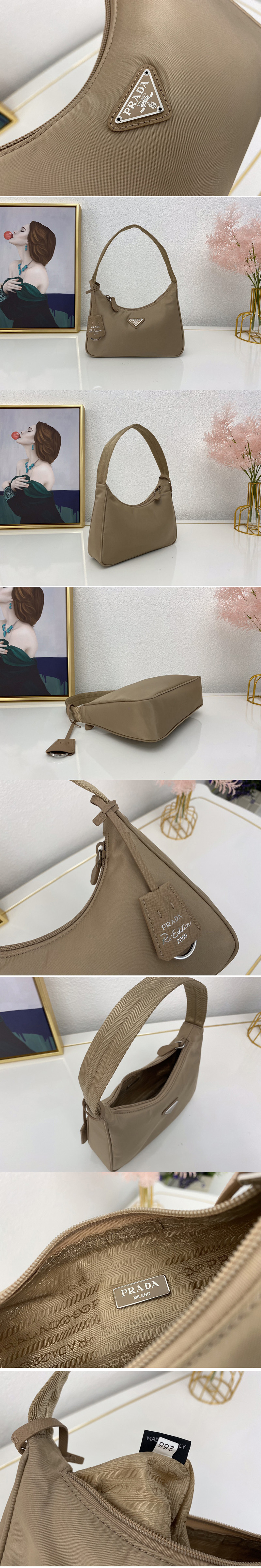 Replica Prada 1NE515 Re-Edition 2000 nylon mini-bag in Apricot Nylon