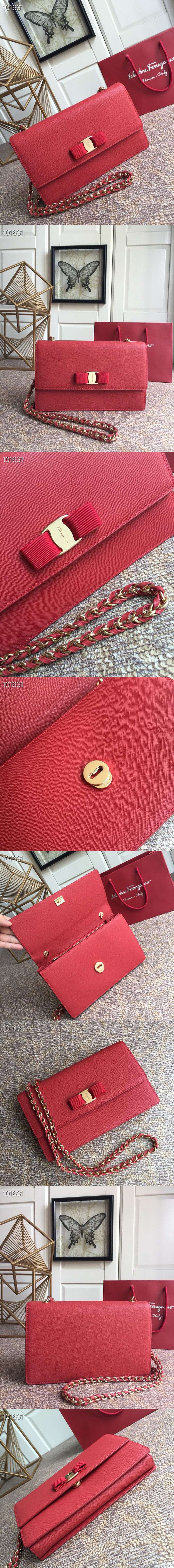 Replica Ferragamo 21E480 Ginny Bags in Red calfskin leather