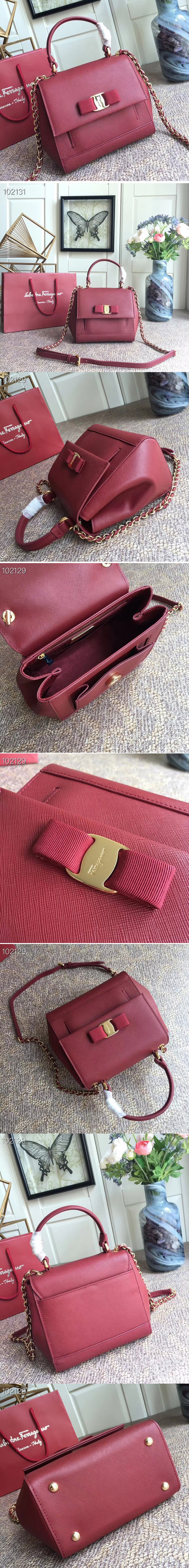 Replica Ferragamo 21F570 Carrie Nero Top Handle Handbags In Bordeaux Calfskin Leather