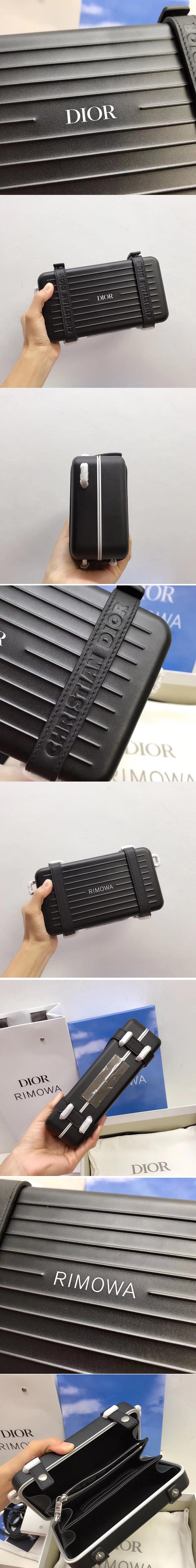 Replica BLACK DIOR AND RIMOWA PERSONAL CLUTCH 2DRCA295YWT IN ALUMINUM AND GRAINED CALFSKIN