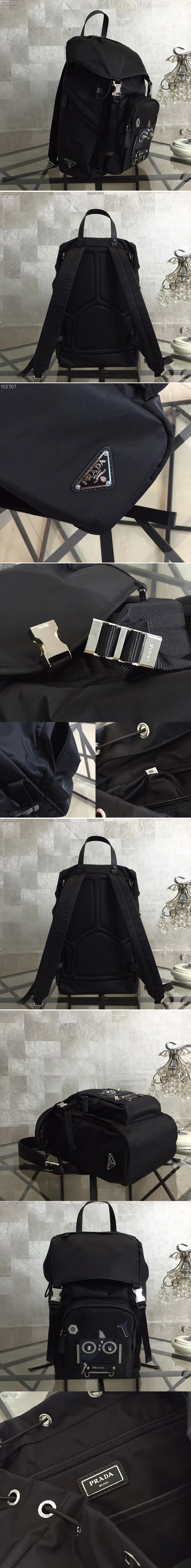Replica Prada 2VZ135 Technical fabric backpack With Black Robat