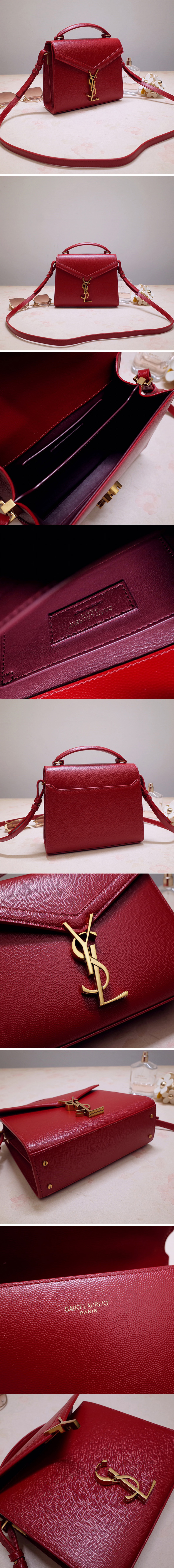 Replica Saint Laurent 602716 YSL Cassandra Mini Top handle bag In Red Grain de Poudre Embossed Leather