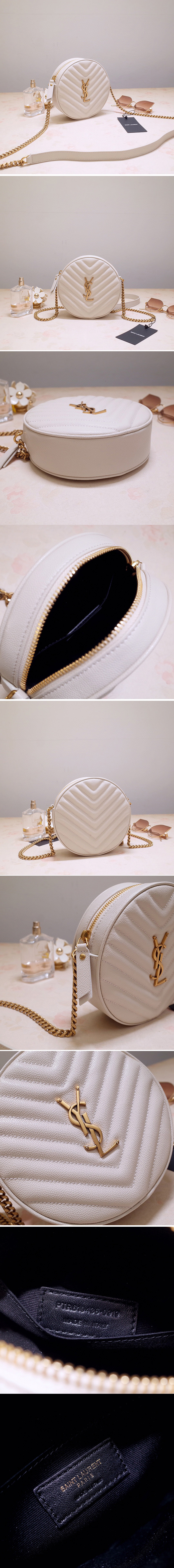 Replica Saint Laurent 6104361 YSL Vinyle Round Camera Bags in White Chevron-Quilted Grain de Poudre Embossed Leather
