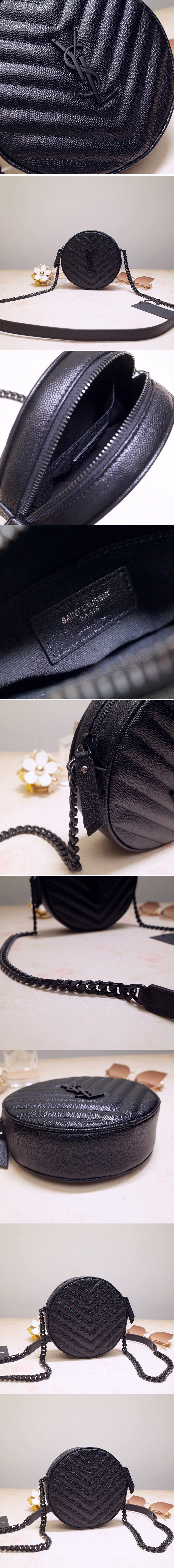 Replica Saint Laurent 6104361 YSL Vinyle Round Camera Bags in Black Chevron-Quilted Grain de Poudre Embossed Leather with black chain