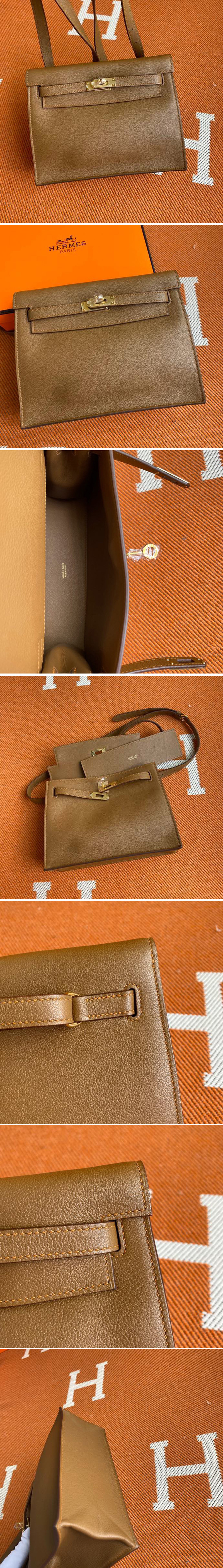 Replica Hermes Kelly Danse 22cm Bag in Brown Evercolor Leather with Gold Buckle