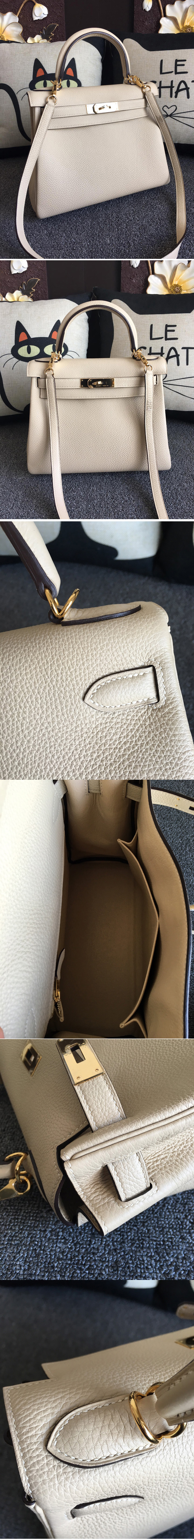 Replica Hermes Kelly 28cm Bag Full Handmade in Original Cream Togo Leather With Silver Buckle