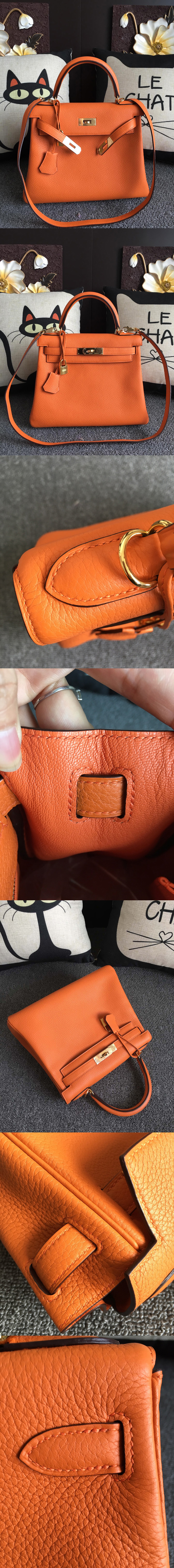 Replica Hermes Kelly 28cm Bag Full Handmade in Original Orange Togo Leather With Gold Buckle