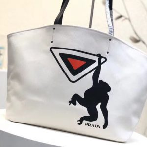 Replica Prada 1BG218 Monkey Printed Canvas Tote Bags White