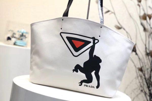 Replica Prada 1BG218 Monkey Printed Canvas Tote Bags White