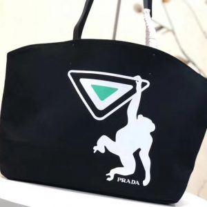 Replica Prada 1BG218 Monkey Printed Canvas Tote Bags Black