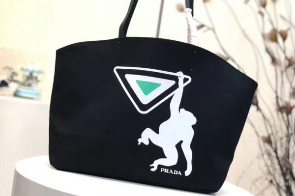 Replica Prada 1BG218 Monkey Printed Canvas Tote Bags Black