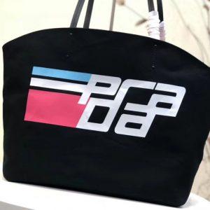 Replica Prada 1BG218 Prada Logo Printed Canvas Tote Bags Black