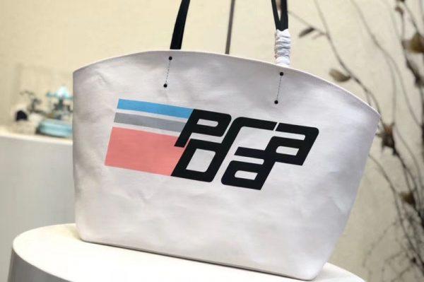 Replica Prada 1BG218 Prada Logo Printed Canvas Tote Bags White