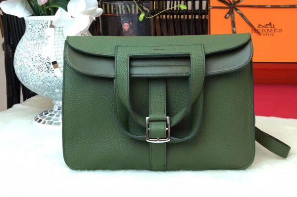 Replica Hermes Halzan 31 Bags Original Taurillon Leather Jasper