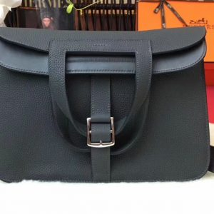 Replica Hermes Halzan 31 Bags Original Taurillon Leather Iron Grey