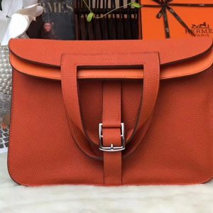Replica Hermes Halzan 31 Bags Original Taurillon Leather Orange
