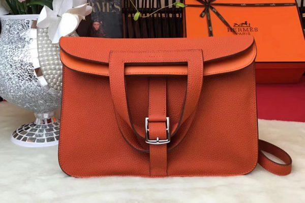 Replica Hermes Halzan 31 Bags Original Taurillon Leather Orange
