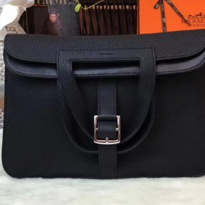 Replica Hermes Halzan 31 Bags Original Taurillon Leather Black