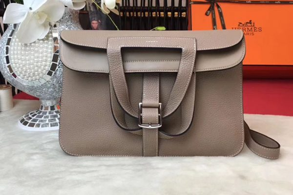 Replica Hermes Halzan 31 Bags Original Taurillon Leather Light Gray