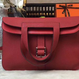 Replica Hermes Halzan 31 Bags Original Taurillon Leather Red