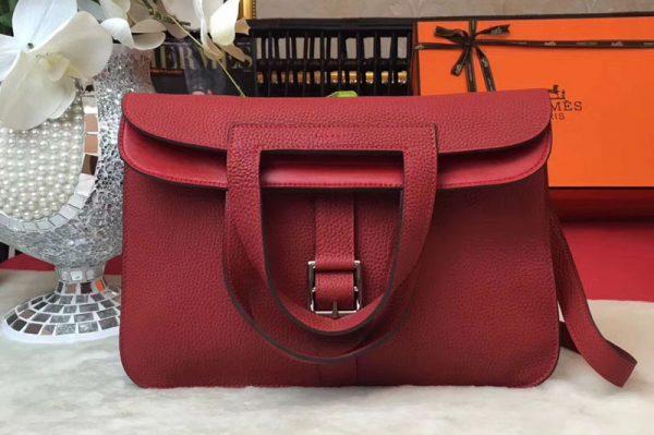 Replica Hermes Halzan 31 Bags Original Taurillon Leather Red
