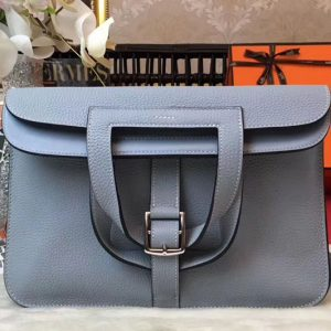 Replica Hermes Halzan 31 Bags Original Taurillon Leather Light Blue