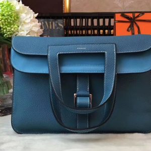 Replica Hermes Halzan 31 Bags Original Taurillon Leather Blue