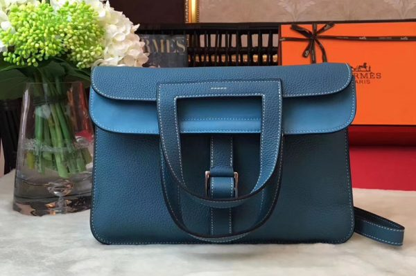 Replica Hermes Halzan 31 Bags Original Taurillon Leather Blue