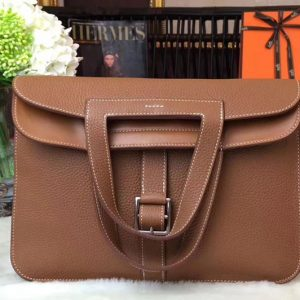 Replica Hermes Halzan 31 Bags Original Taurillon Leather Brown
