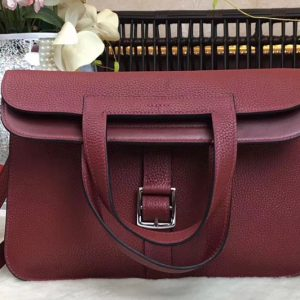 Replica Hermes Halzan 31 Bags,Original Taurillon Leather,Wine,Replica Hermes Bags,Fake Hermes Handbags,Luxury Hermes Purse,Womens Bags