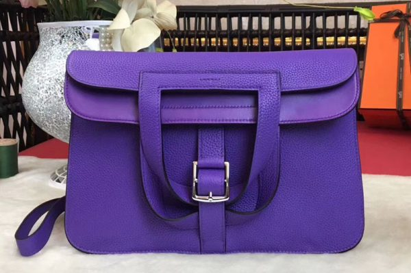 Replica Hermes Halzan 31 Bags Original Taurillon Leather Purple