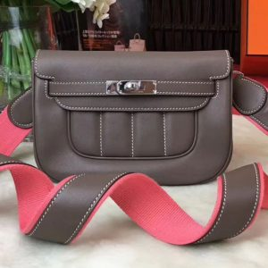 Replica Hermes Berline 20cm Original Swift Leather Bags Elephant grey