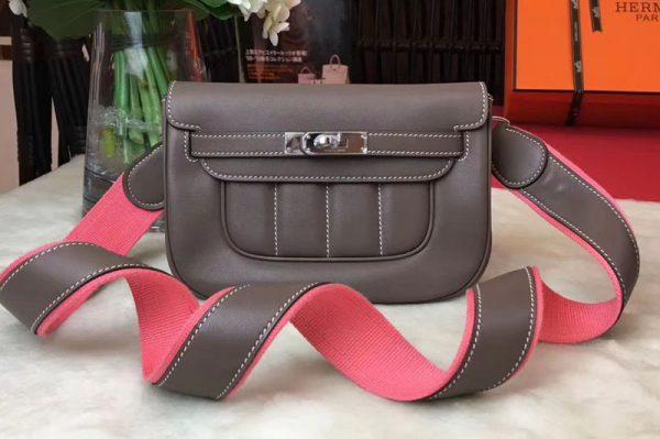 Replica Hermes Berline 20cm Original Swift Leather Bags Elephant grey
