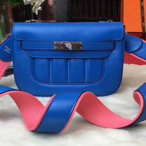 Replica Hermes Berline 20cm Original Swift Leather Bags Blue