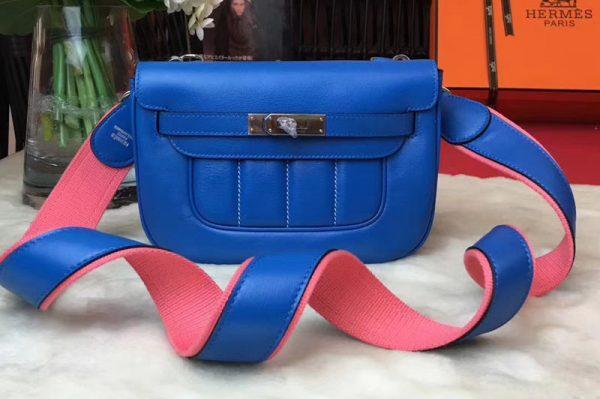Replica Hermes Berline 20cm Original Swift Leather Bags Blue